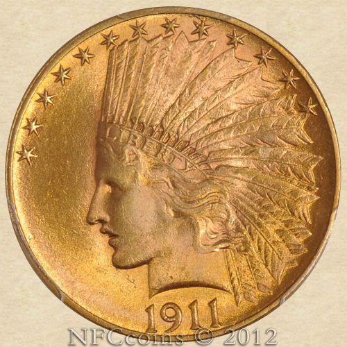 1911 Ten Dollar Gold Indian Ms64 Pcgs Obverse Monedas De Oro Monedas Monedas De Euro