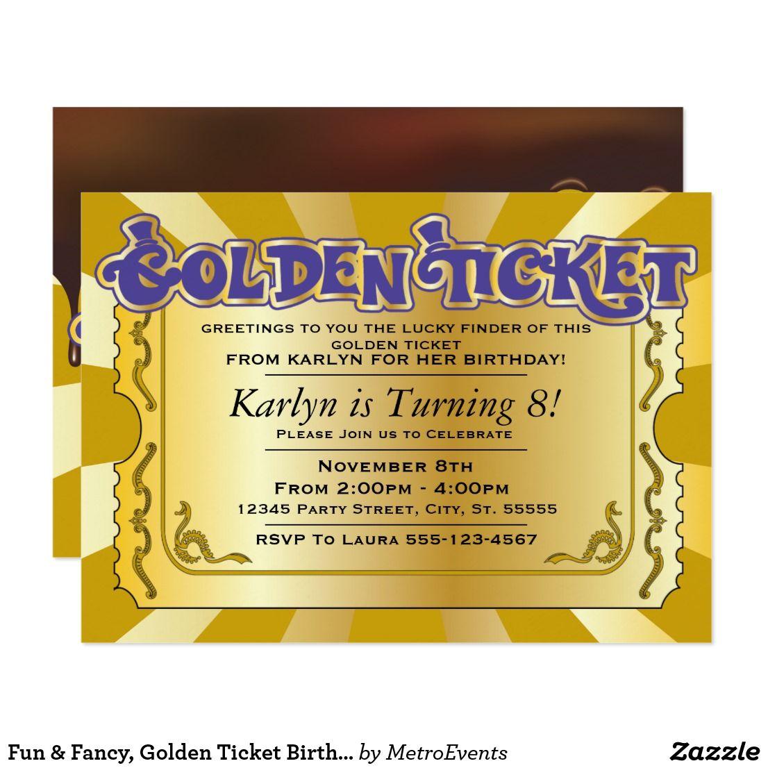 Fun & Fancy, Golden Ticket Birthday Invitations Fun & Fancy, Golden ...
