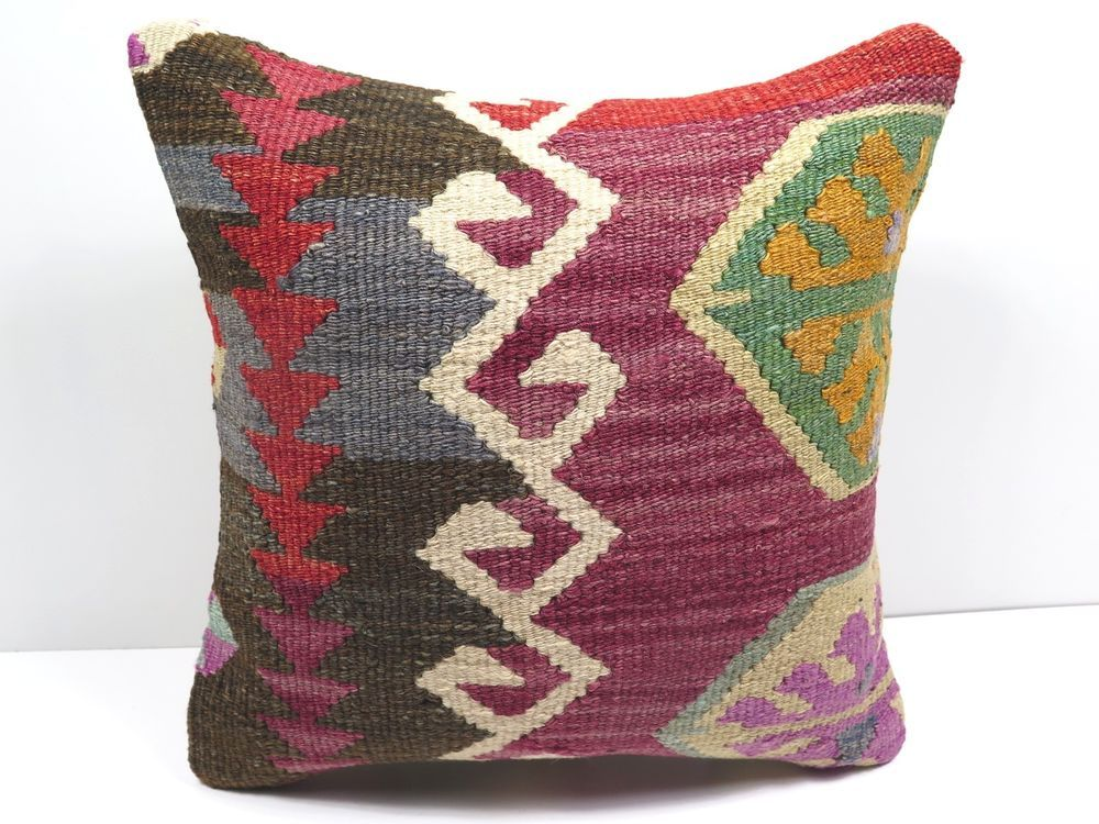 "Turkish Kilim Kelim Rug Pillow Cover  16"" X 16"" Kilim Rug Pillows , Throw Pillow #Turkish"