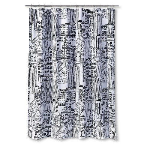 City Sketch Shower Curtain - Black/Opaque - Room Essentials™   City ...