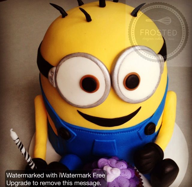 Despicable Me Minion birthday cake made with 6 pans and half a ball