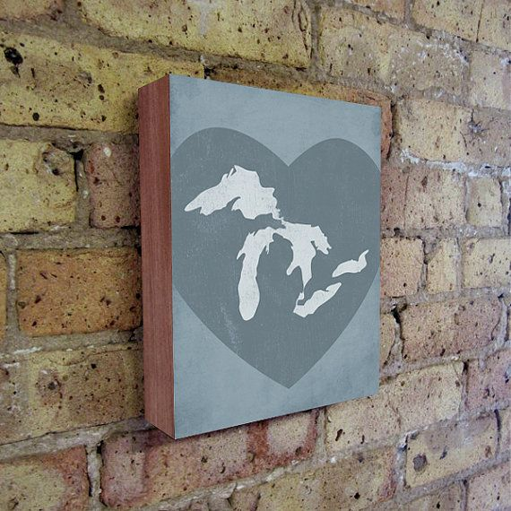 Great Lakes Art Lake Michigan Lake Erie Lake Superior Wood Block Wall Art Print Lake Art Lake Wall Art Great Lakes Map