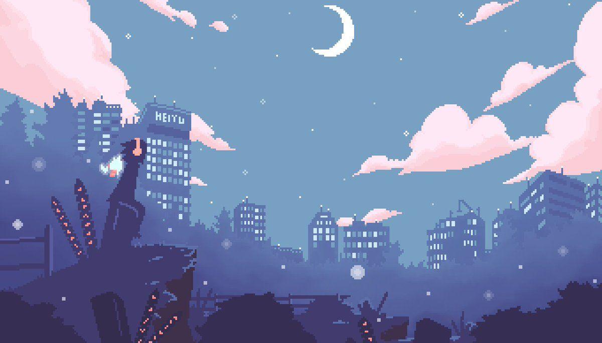 Apple On Twitter In 2020 Pixel Art Background Landscape Wallpaper Anime Wallpaper Live