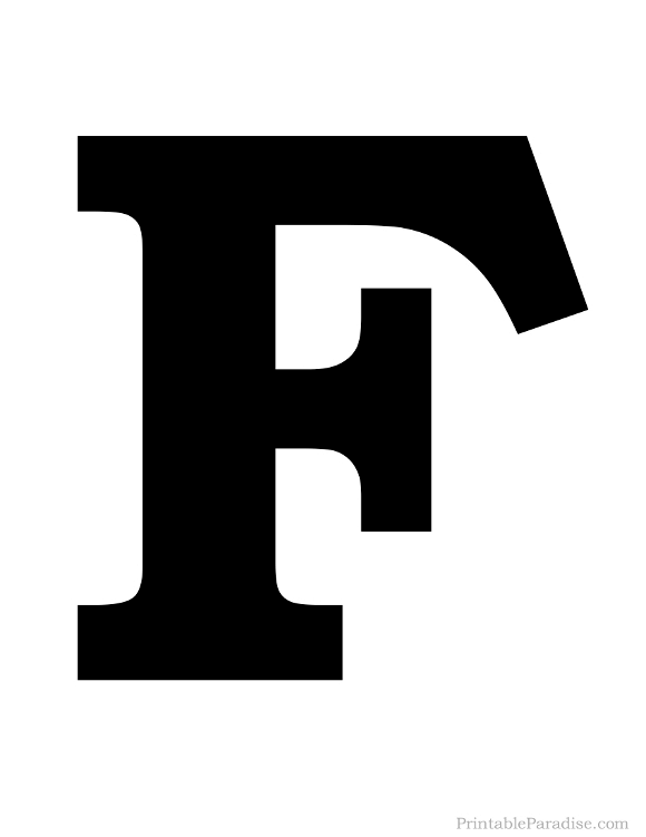 photograph relating to Letter F Printable known as Printable Potent Black Letter F Silhouette Letter