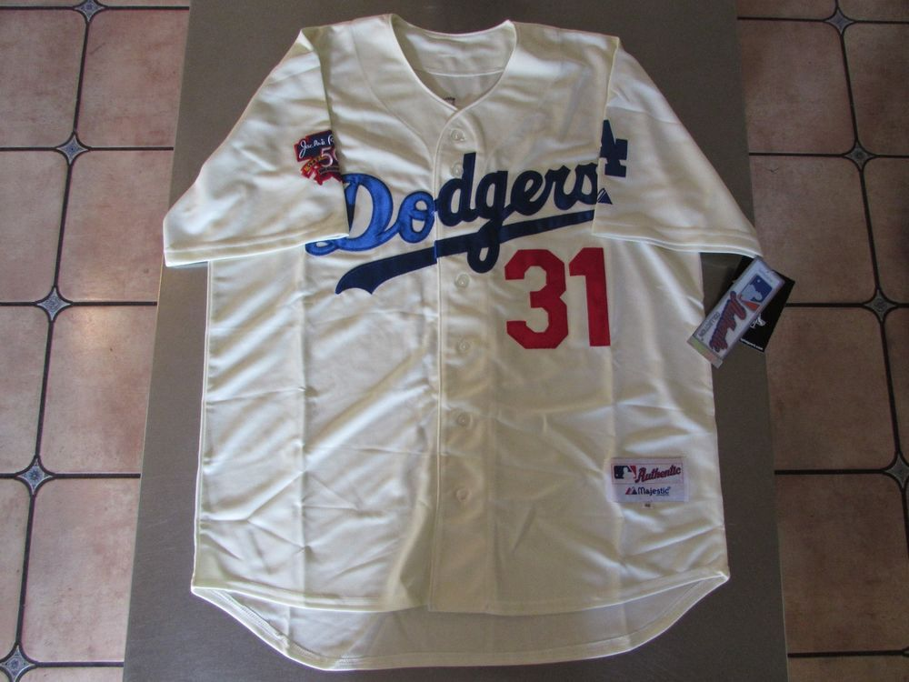 the best attitude 63f03 2821c Authentic Collection Majestic Mike Piazza Dodger Jersey 50th ...