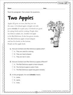 Two Apples: Grade 2 Close Reading Passage | Comprehension | Pinterest