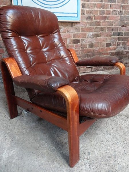 1970 S Danish Reclining Leather Arm Chair Bentwood 70s Patina Brown