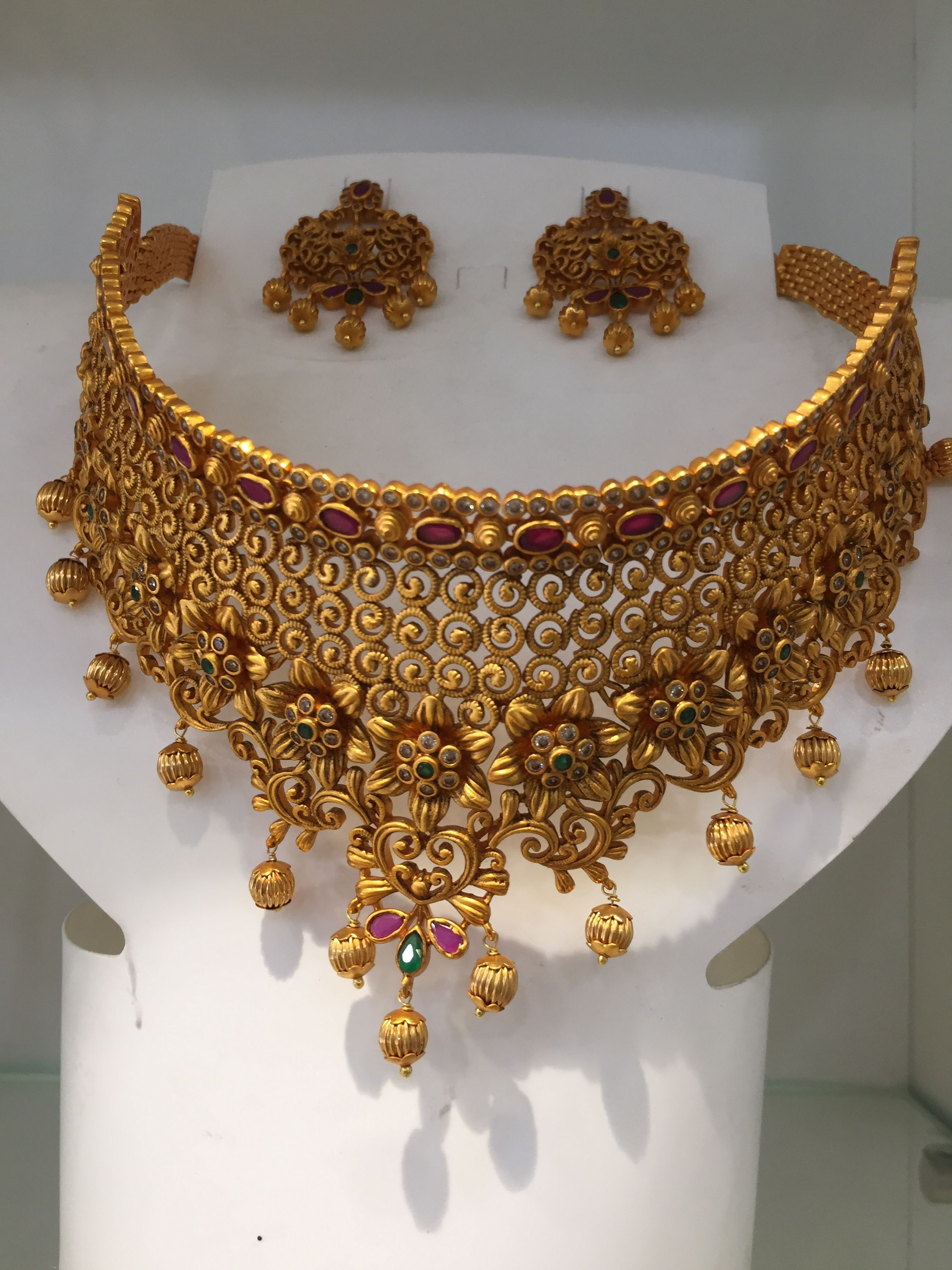 8528a2f47 One Gram Gold choker necklace Gold Bridal Jewellery Sets, South Indian  Bridal Jewellery, Gold