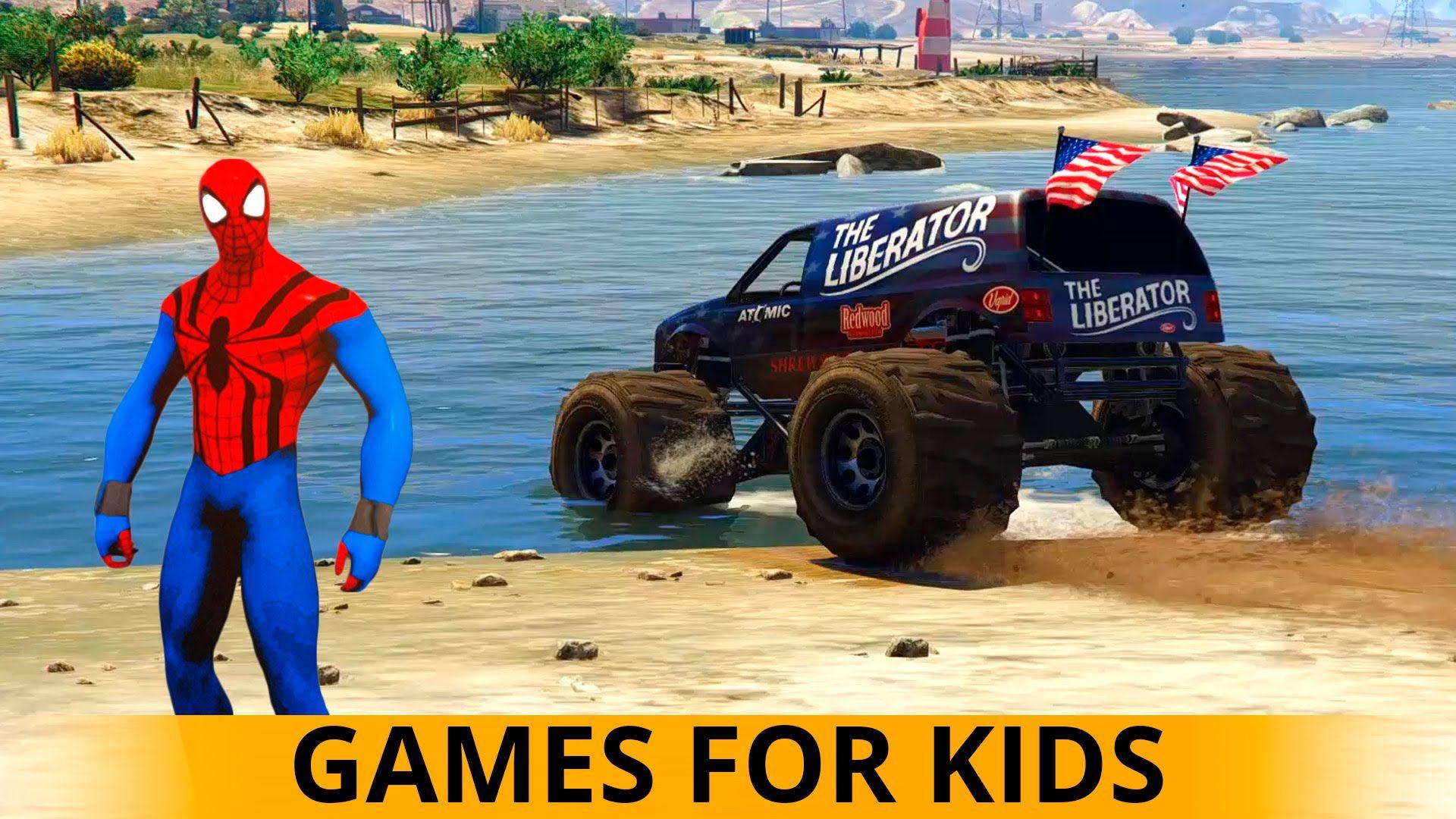 spiderman cartoon cars monster truck u0026 dump trucks for children