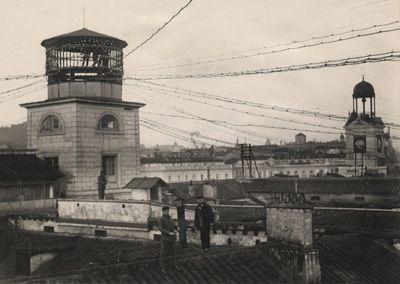 Desmontaje de la torre de cables de la Central de Mayor, Madrid 1927