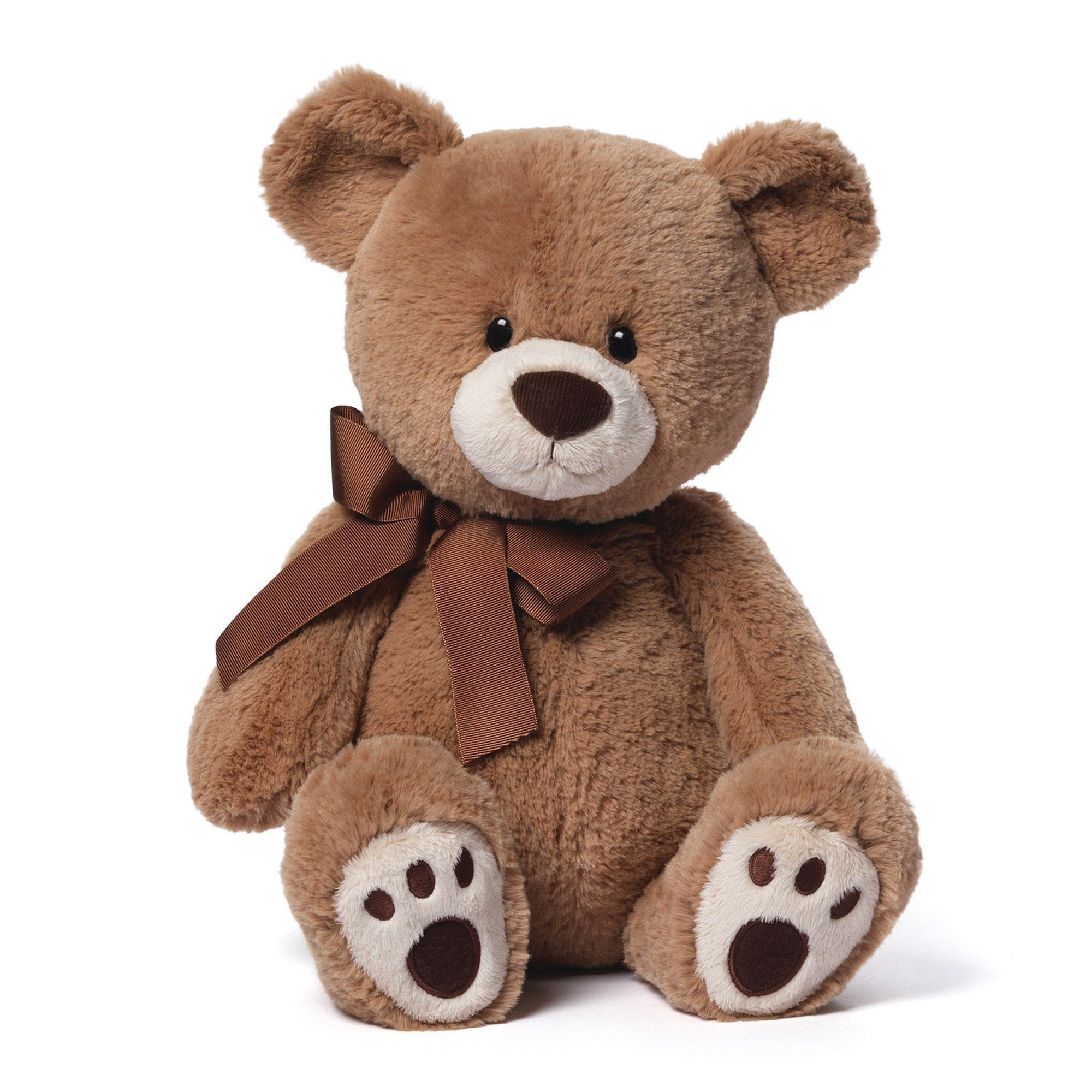 "GUND is proud to present Kiwi — a tan bear with a cute little corduroy nose! Features a classic design and paw pad accents, while a bow provides some chic appeal. This 17"" size is perfect for cuddling"