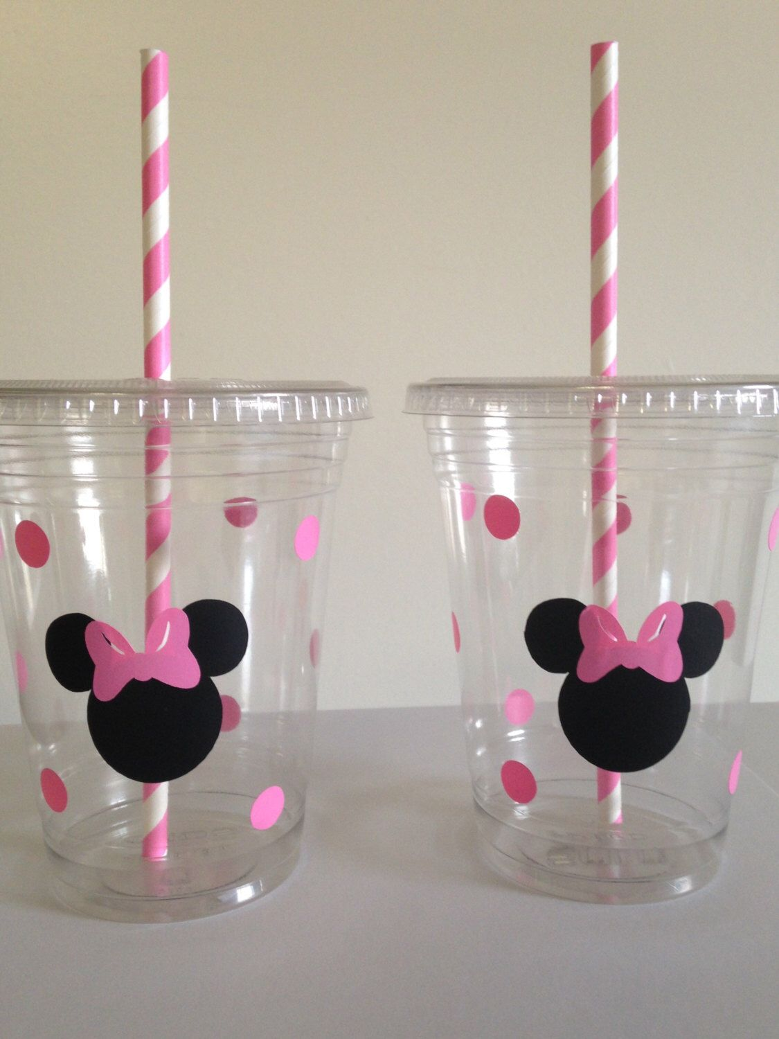 Minnie Mouse Party Cups (Pink or Red) by DivineGlitters on Etsy https://www.etsy.com/listing/226258229/minnie-mouse-party-cups-pink-or-red