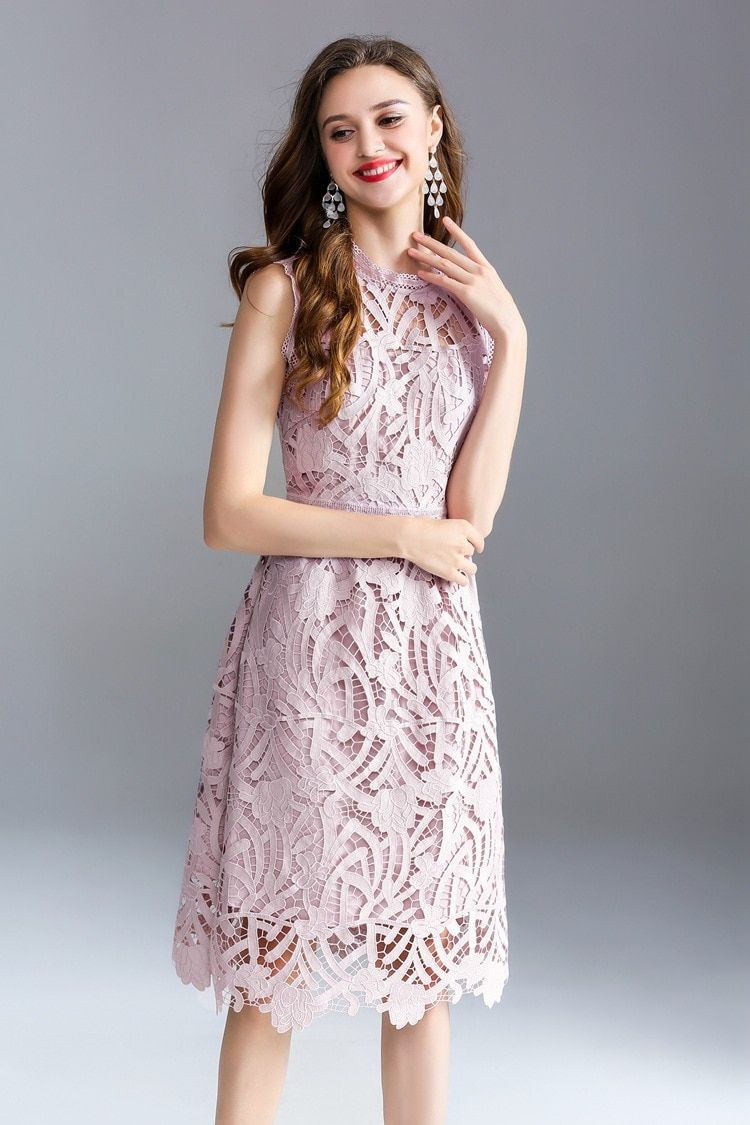 Women Fashion Lace Dress Summer Party Women Lace Embroidery