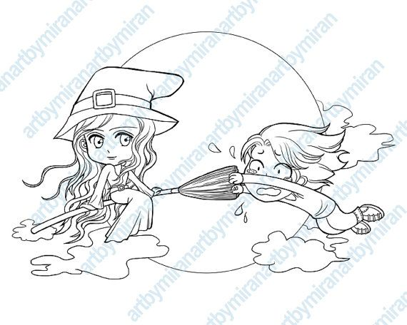 digital stampMidnight Ride Halloween coloring page funny