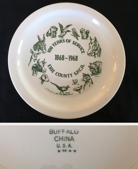 Buffalo China plate , 100 Years of Service 1868 - 1968 Erie