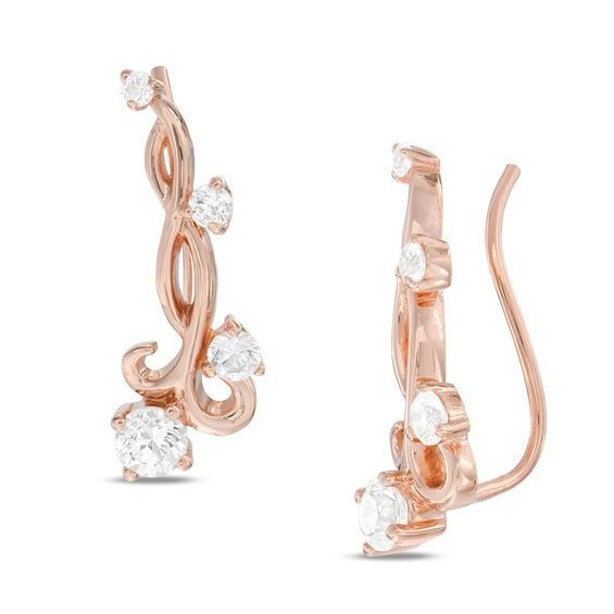 Zales Lab-Created White Sapphire S Curve Crawler Earrings in Sterling Silver with 14K Gold Plate mKlwWH45