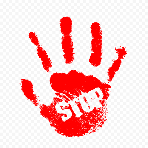 Hd Red Hand Print With Stop Word Png In 2020 Stop Words Print Png