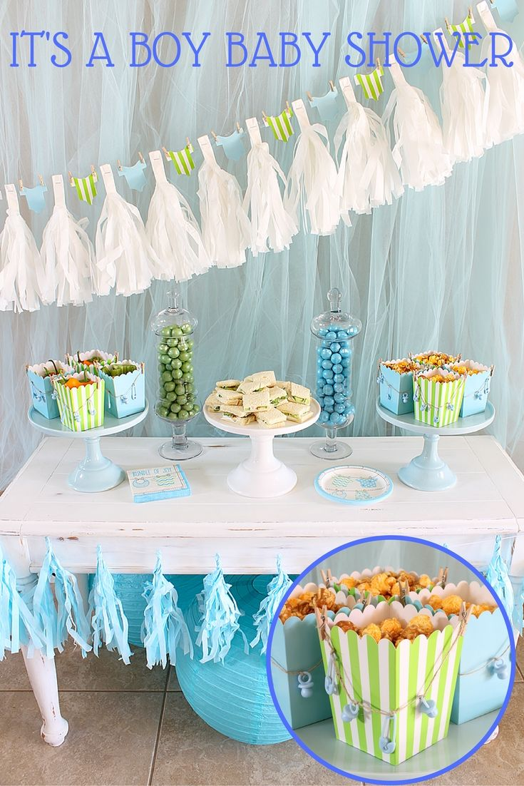 This boy baby shower luncheon from @partyplanits is so simple and so sweet!  Surprise the mom-to-be with this adorable boy baby shower idea.
