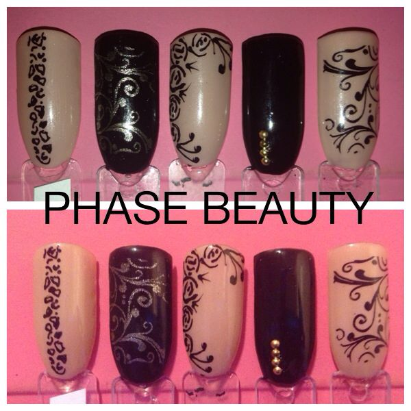 Shellac nail art design ideas nude & black with black & gold stamped & hand painted nail art