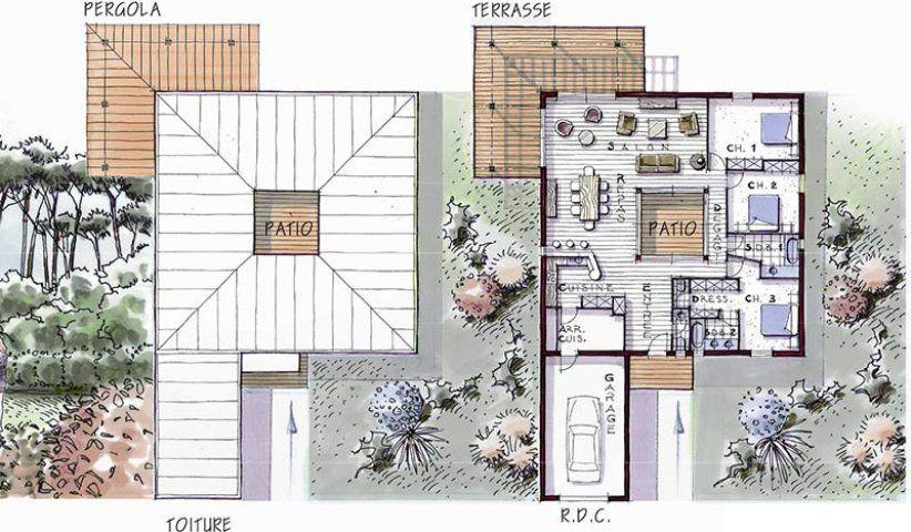 Modèle de maison avec ossature bois 3 chambres plain-pied Maison - modele de construction maison