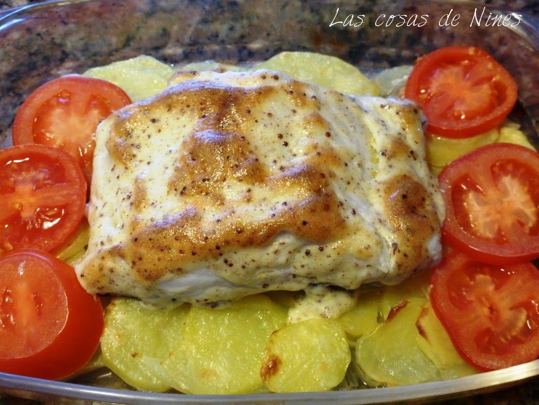 BACALAO GRATINADO CON MAYONESA A LA MOSTAZA ( Cod gratined with mustard mayonnaise)