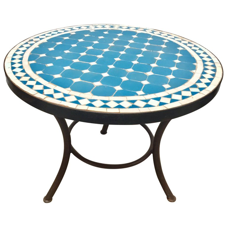 Moroccan Mosaic Outdoor Blue Tile Side Table On Low Iron Base Blue Tiles Round Metal Side Table Mosaic Tile Table