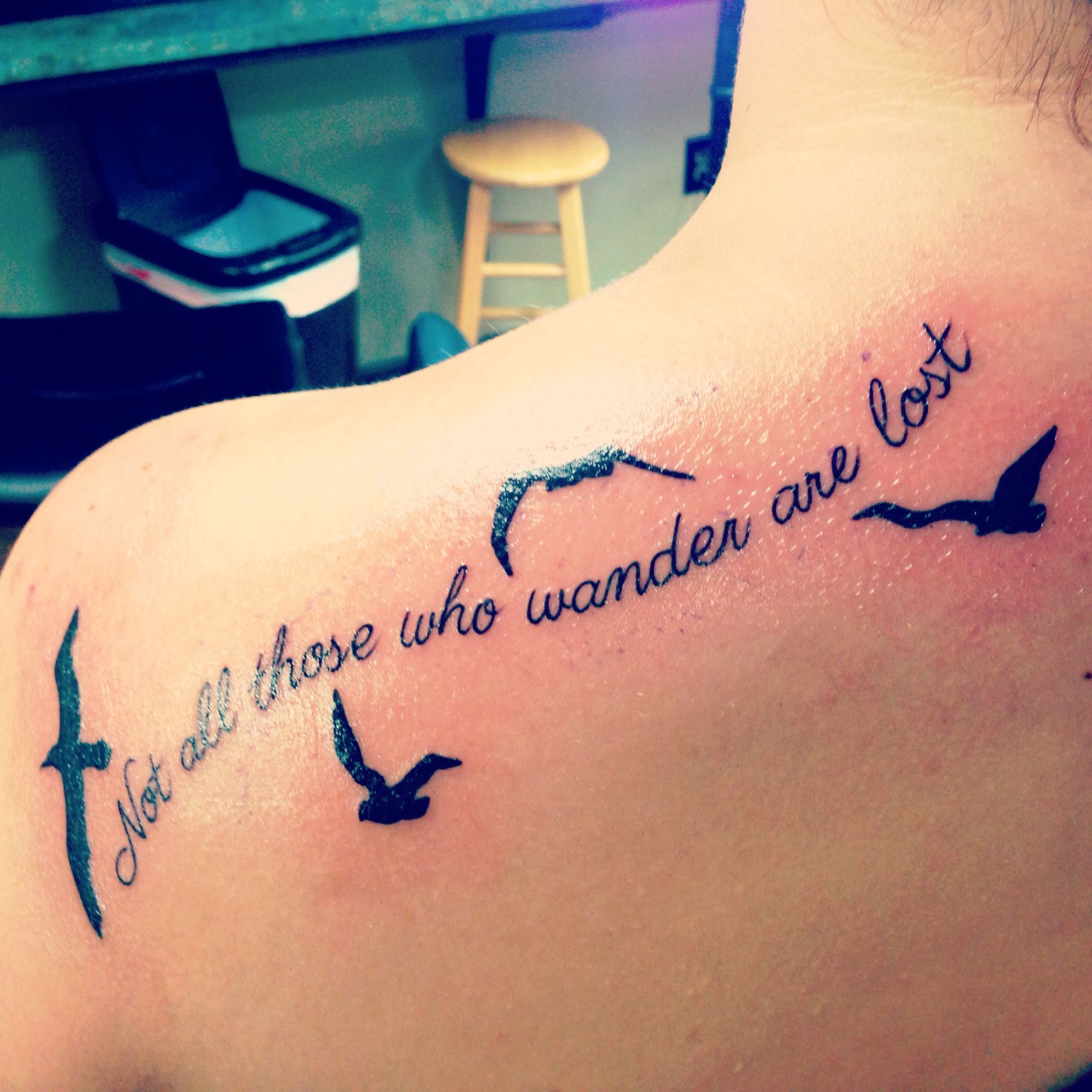 Not All Those Who Wander Are Lost Tattoo Foot My Newest Tattoo Not All Those Who Wander Are Lost Quote From The Hobbit With Silhouettes Of Sea Birds Albatrosses The Great Wande Tatoo Tatuaggi Papere