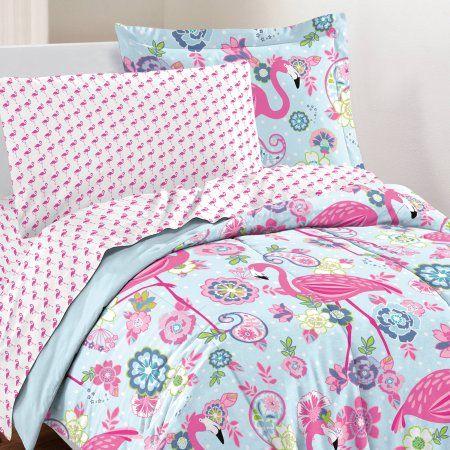 Dream Factory Flamingo Bed In A Bag Bedding Set W Reversible Comforter Walmart Com Flamingo Bedding Comforters Comforter Sets