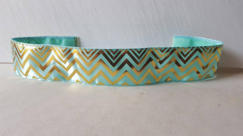Thick gold tropic Chevron, Aqua, Shiny Gold, Thick Headband, No Slip Headband, non slip headband, Chevron Print Headband, Swanky Bands
