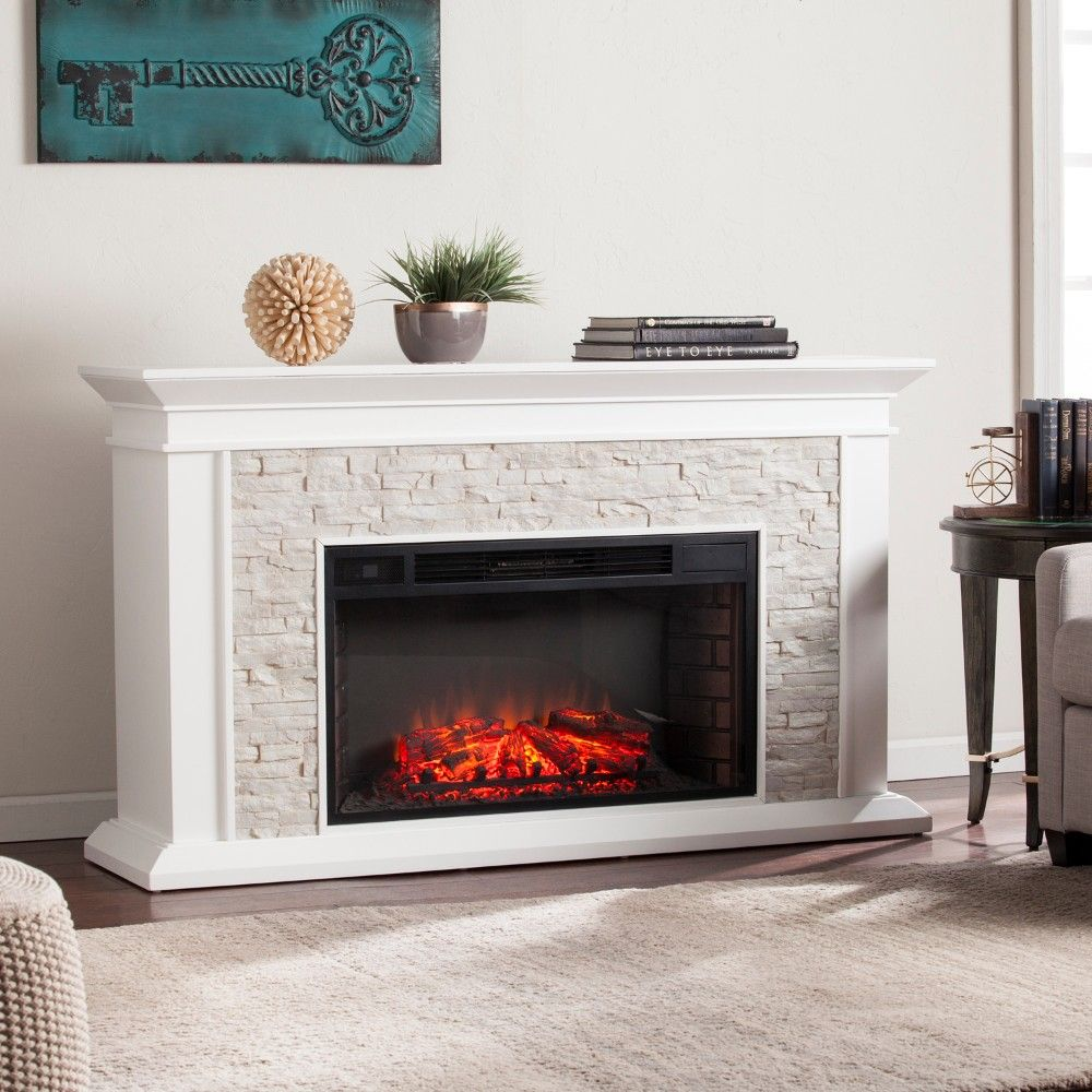 Stone Electric Fireplace Tv Stand Canyon Heights Faux Stacked Stone Electric Fireplace In White