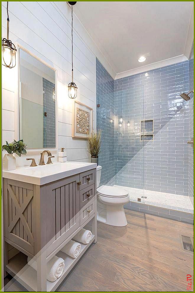 Coastal Farmhouse bathroom with shiplap walls store-bought vanity and hardwood f...#bathroom #coastal #farmhouse #hardwood #shiplap #storebought #vanity #walls
