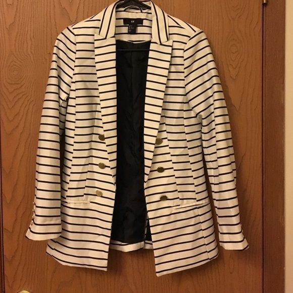 Black and white stripped blazer from H&M. Item only worn once and in very good condition. Would be great for cool summer nights!! H&M Jackets & Coats Blazers