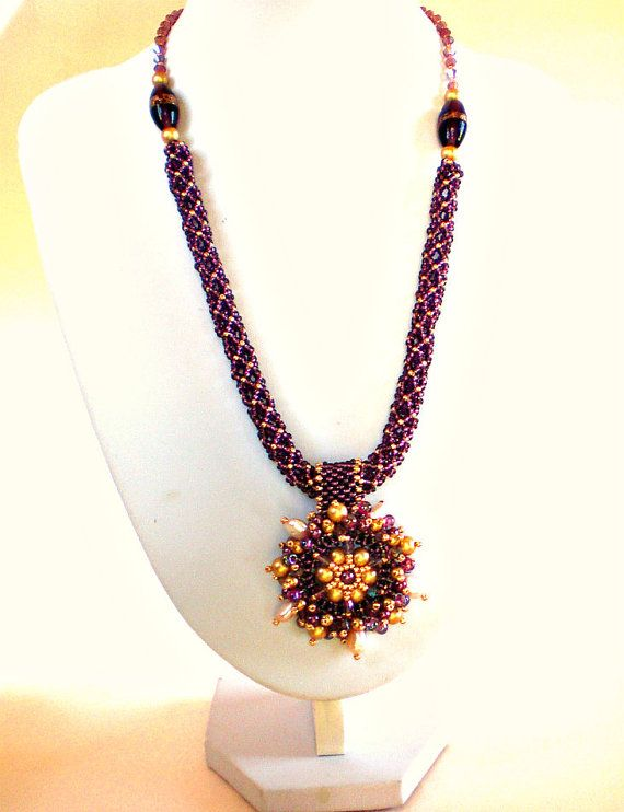 Purple Mauve Gold Beadwoven Necklace Beaded от SpringColors