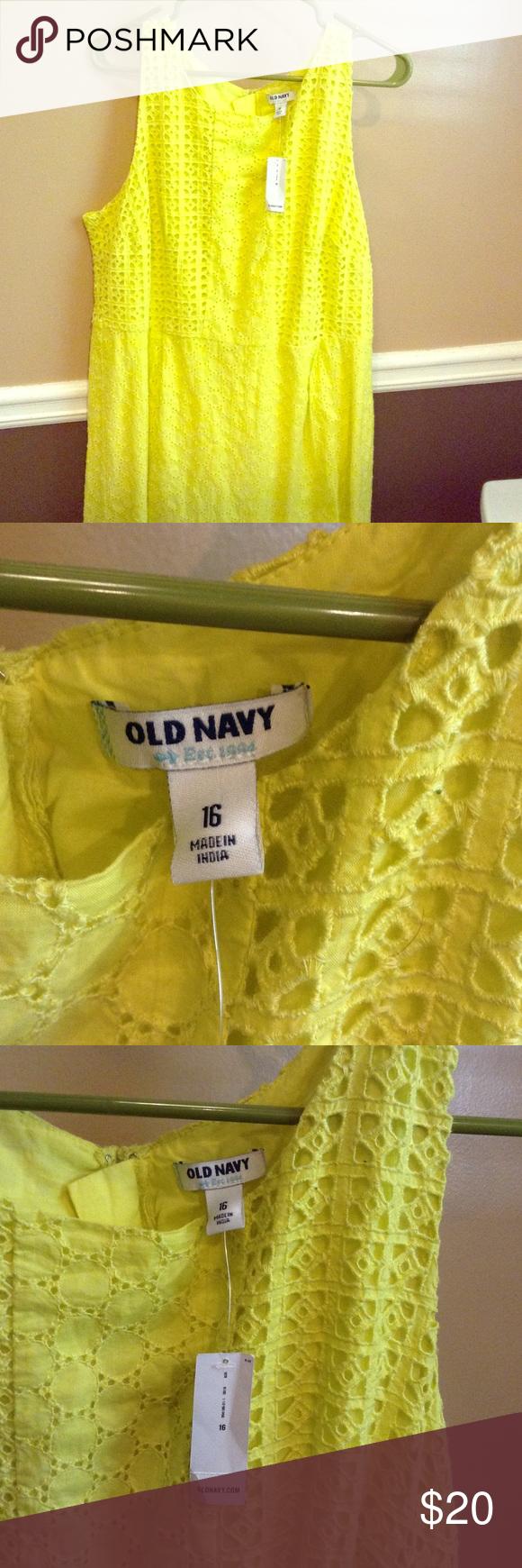Yellow dress knee length  Yellow sun dress Knee length Back zip Brand new Old Navy Dresses