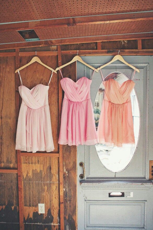 Short dresses. Cream dress, pink dress, peach dress.
