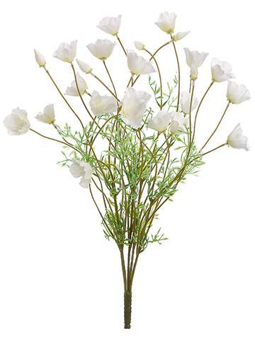 Faux California Poppy Flower Bush In Cream White 24 Watercolor