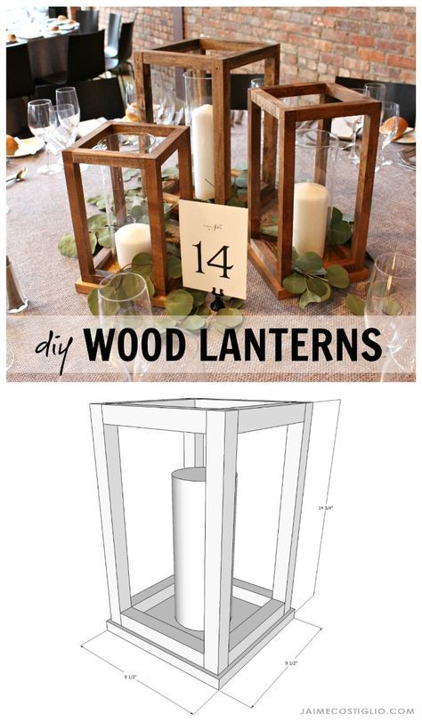 DIY Wood Lantern Centerpieces is part of  - Make your own wedding table decor with beautiful DIY wood lantern centerpieces  Perfect for any event  holiday party, special celebration  and super easy to construct