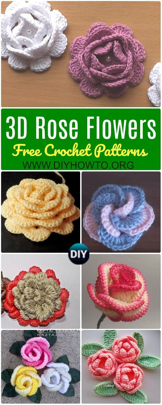 Collection of Crochet 3D Rose Flowers Free Patterns: Easy Crochet ...