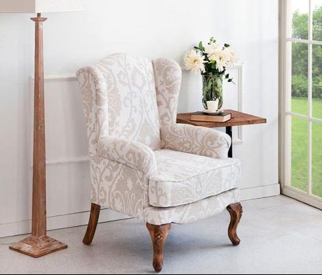 Sill n orejero roble chenilla tapizado tostado acogedor pinterest furniture living room - Sillones antiguos restaurados ...