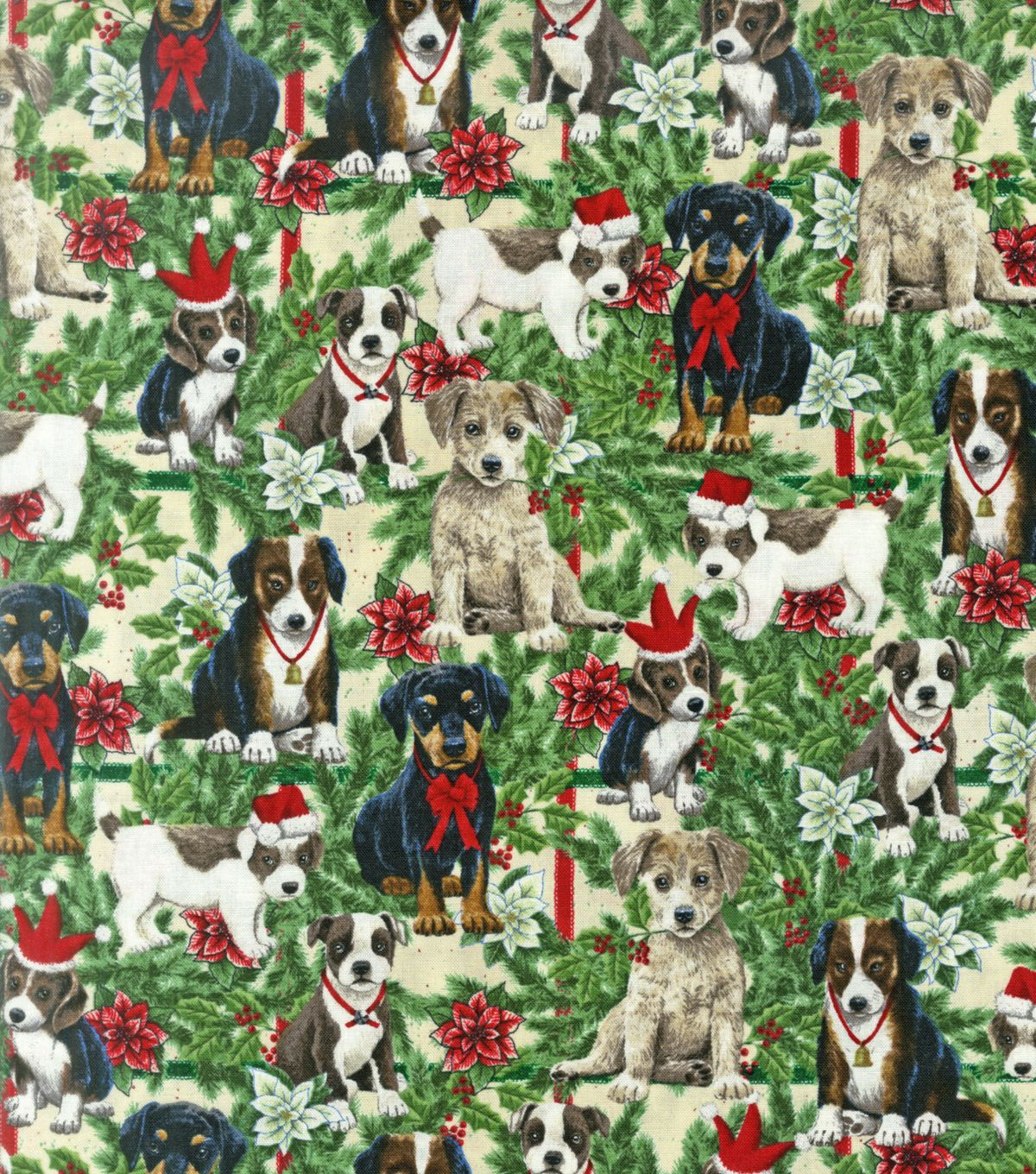 Holiday Inspirations Fabric- Christmas Puppies & PineHoliday Inspirations Fabric- Christmas Puppies & Pine,