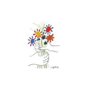 Pablo Picasso - Hände mit Bouquet (1958)