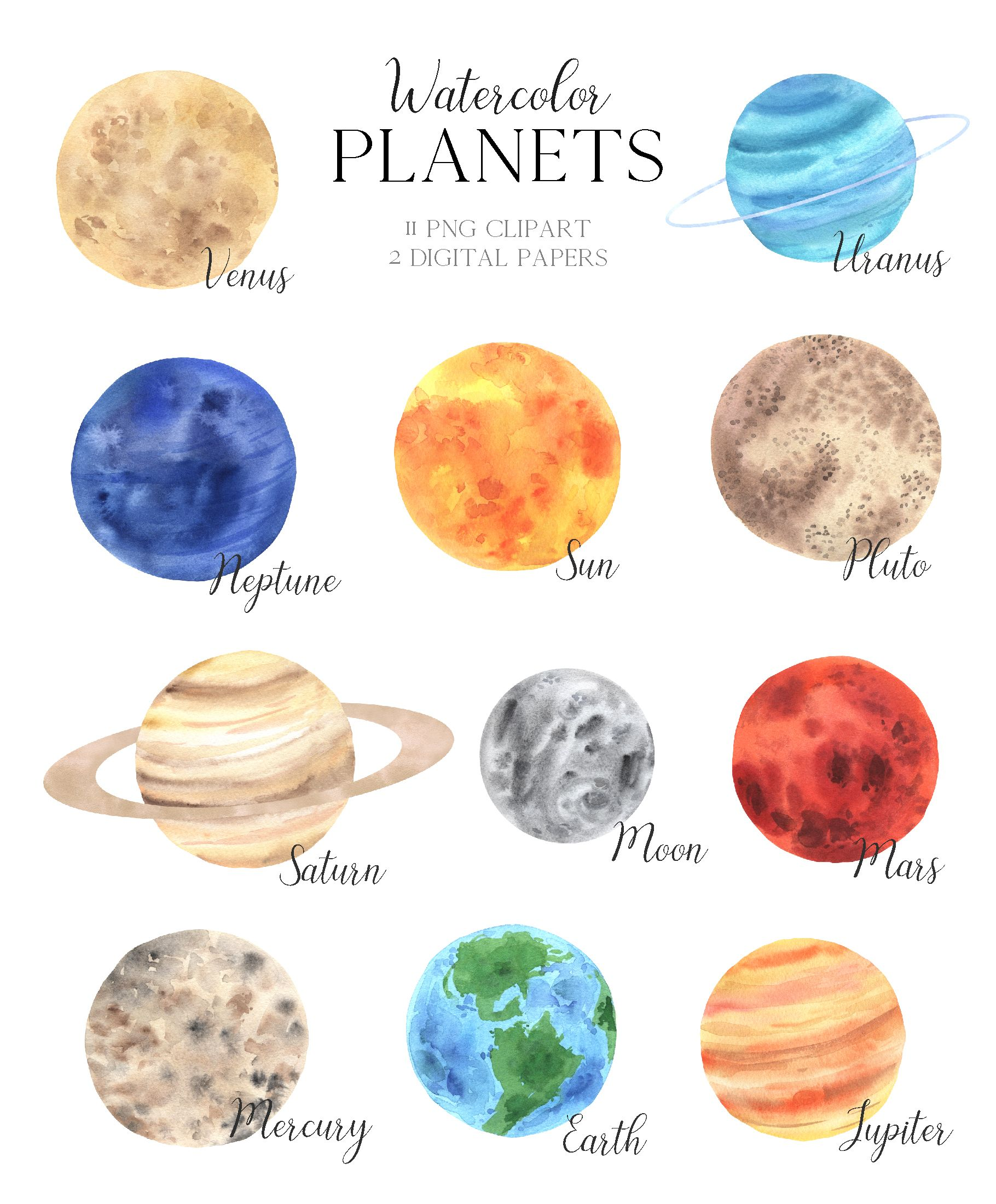 Space Planet Clipart Watercolor Solar System Illutrations Etsy In 2021 Solar System Art Solar System Clipart Space Planets