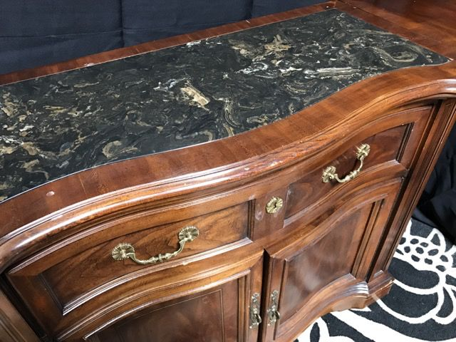 UNIQUE FURNITURE MAKERS OF WINSTON SALEM, NC HANDCRAFTED WOOD SIDEBOARD  SERVER WITH MARBLE INLAY TOP