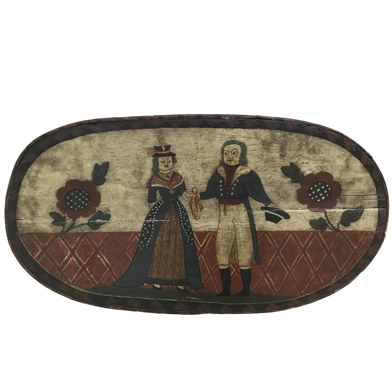 18th Century Folk Art Hat Box    See more antique and modern Boxes at https://www.1stdibs.com/furniture/decorative-objects/boxes