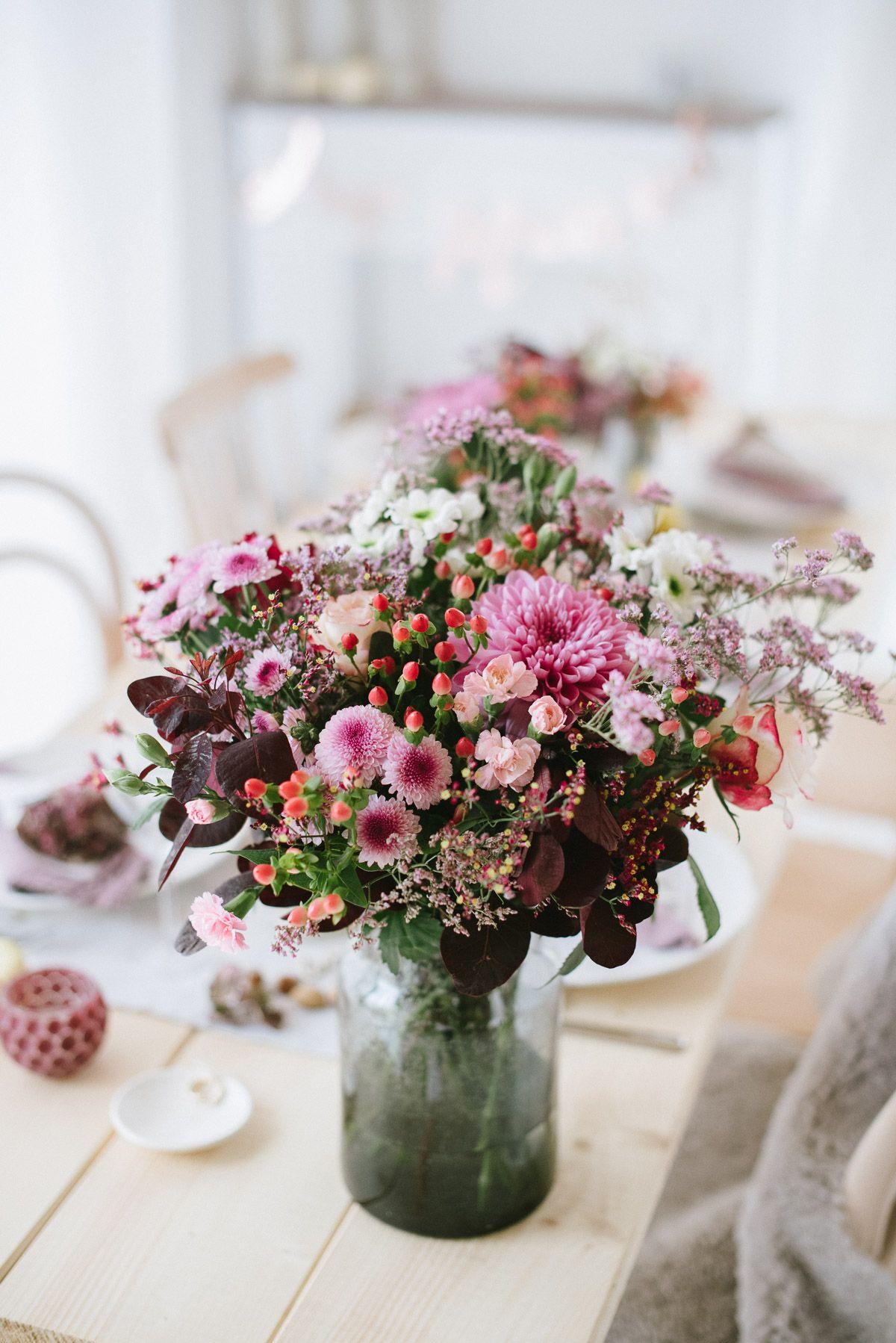 Chrysanthemen Beeren Nüsse Leinen Dekoration einer
