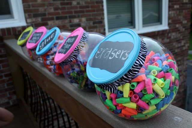 School Supplies in Candy Jars! Can't believe that I have never seen this before! So cute!