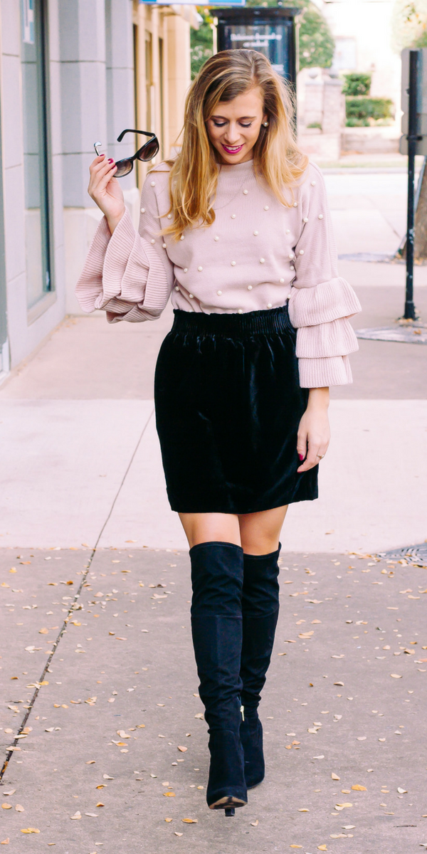 a3e829117c black OTK boots with pink pearl studded sweater with tiered ruffle sleeves