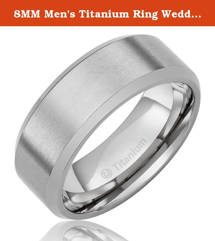 Stainless Steel Flat 8mm Polished Wedding Band