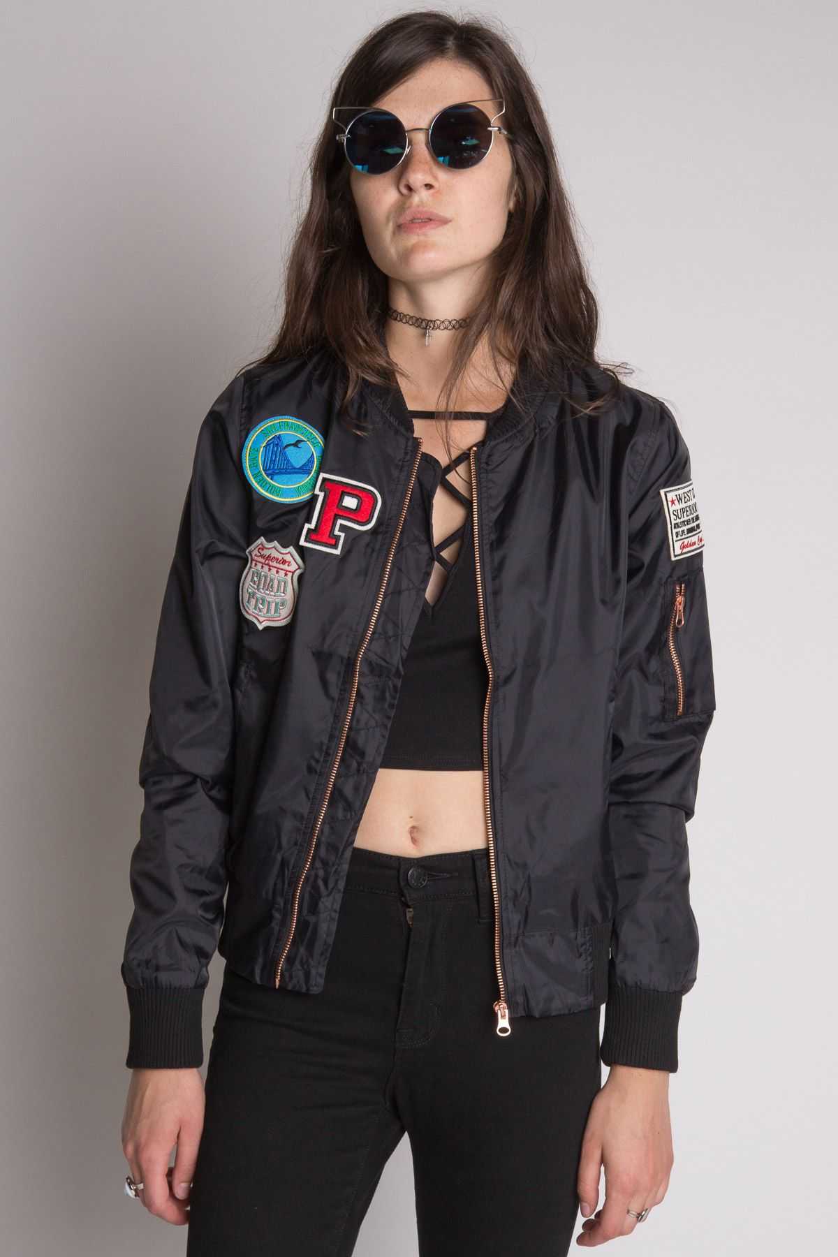 Black Patches Bomber Jacket - Show your fashion smarts with one of our new  bombers!