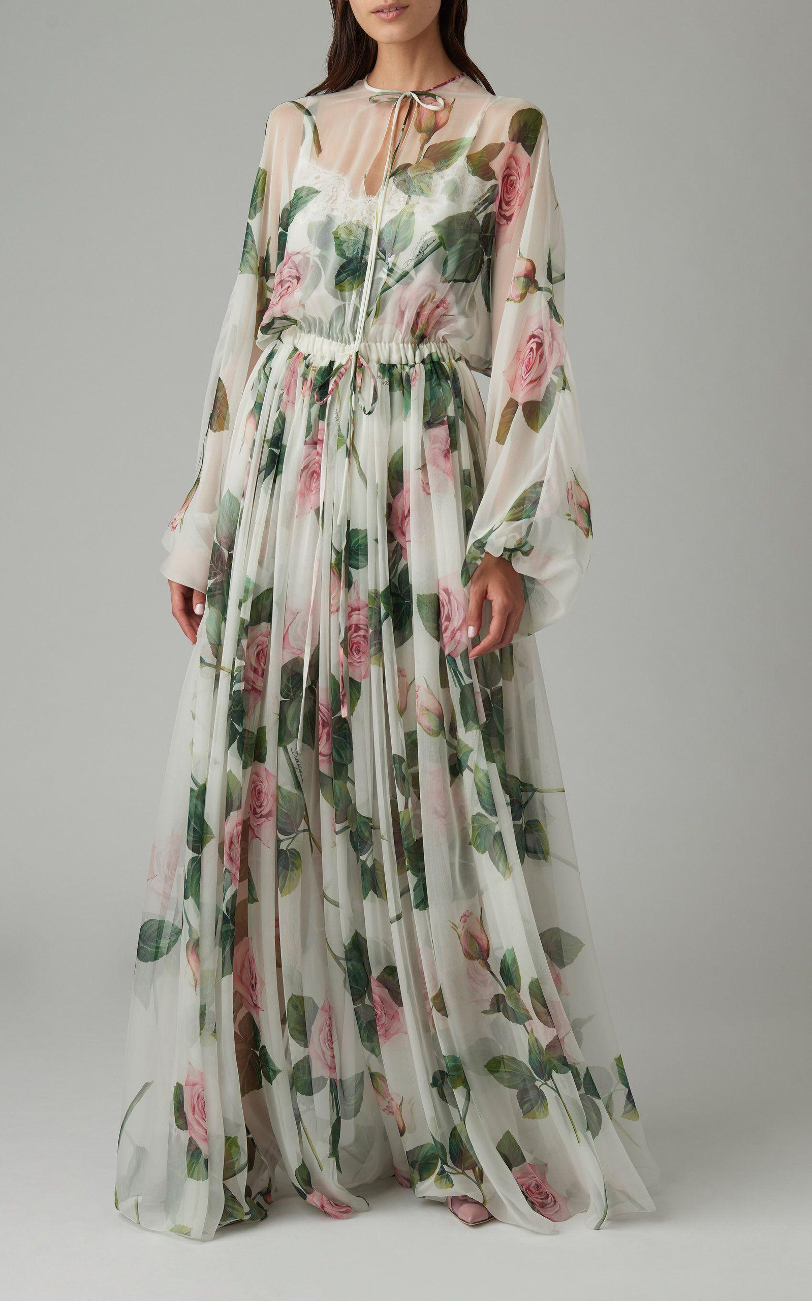 Dolce Gabbana Floral Print Silk Chiffon Maxi Dress In 2020 Maxi Dress Chiffon Maxi Dress Designer Dresses